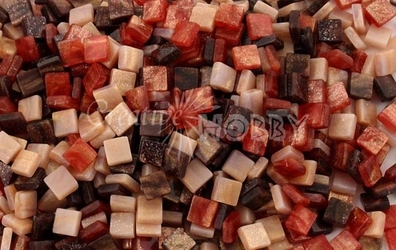 Mozaika marmur czerwona 5x5 mm - 700 sztuk - CZEMAR