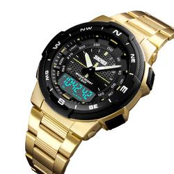 Zegarek MĘSKI SKMEI 1370 gold. Stainless Steel + GRATIS - GOLD