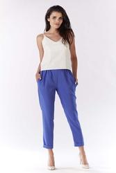 Niebieskie Eleganckie Spodnie 78 z Mankietem