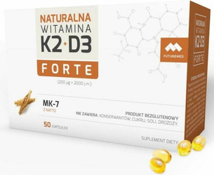 Naturalna Witamina K2 200mcg MK-7 + D3 2000 j.m. Forte x 50 kapsułek