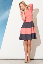 Sukienka Midi w Paski z Rękawem 34