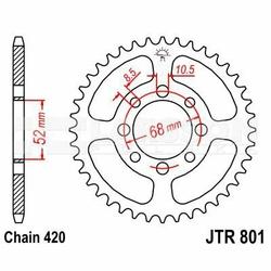 Zębatka tylna stalowa JT 801-54, 54Z, rozmiar 420 2300660 Suzuki LT 50, Kawasaki KLX 110