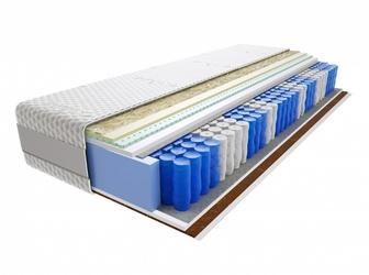 Materac kieszeniowy Aisza Lux 200x220 cm Średnio  Twardy Lateks Kokos Visco Memory