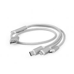 Gembird Kabel USB 3w1 do ładowania1msrebrny