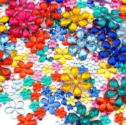 Szkiełka dekoracyjne - kwiatuszki 200 sztuk - KWIA