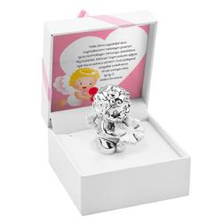 Uśmiechnięty Aniołek z koniczynką chrzest roczek Prezent z Dedykacją - różowa