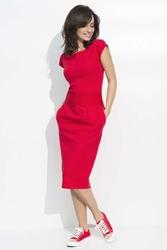 Midi Czerwona Sukienka Bombka z Rękawkiem