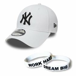 Czapka New Era 9FORTY NY Yankees Strapback + Opaska Work Hard Dream Big
