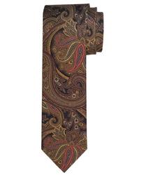 Czarny jedwabny krawat Profuomo Vintage w turecki wzór