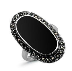 pierścionek srebro 925 i onyks