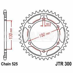 Zębatka tylna stalowa JT 300-42, 42Z, rozmiar 525 2300504 Yamaha TRX 850, Honda XL 650