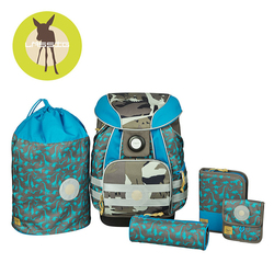 Lassig Plecak szkolny XL ze sztywnymi plecami, 2 piórnikami, workiem i saszetką Dino slate