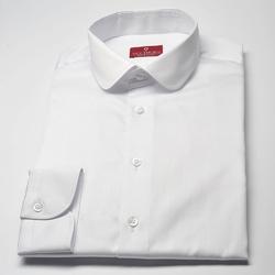 Elegancka biała koszula męska VAN THORN Slim Fit z zaokrąglonym kołnierzykiem 40