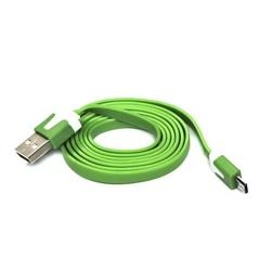 Kabel USB 2.0, USB A  M- USB micro M, 1m, płaski, zielony, Logo, blistr