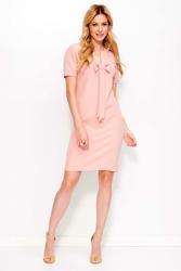 Różowa Sukienka Mini z Kokardą