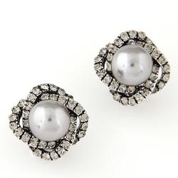 Kolczyki zircon pearl silver - SILVER