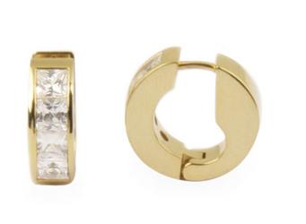 kolczyki magnetyczne pozłacane 1808-1 stal szlachetna z Kryształkami Swarovskiego