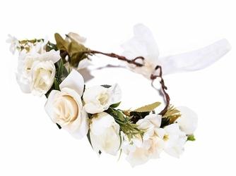 WIANEK ślubny KWIATY róże BIAŁE ecru - BIAŁE ecru
