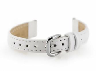 Pasek skórzany do zegarka W30 - w pudełku - biały - 14mm