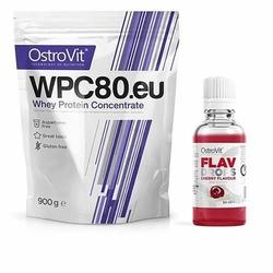 OSTROVIT WPC 80.eu Standard - 900g + Flavour Drops - 50ml - Natural  Cherry
