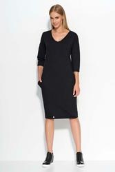 Czarna Sukienka Dresowa Midi z Kieszeniami