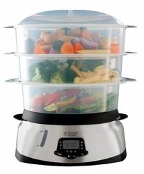 Parowar RUSSELL HOBBS 23560-56  3 pojemniki  10,5 l  Pojemnik do gotowania ryżu - Klasa 1  srebrny || czarny