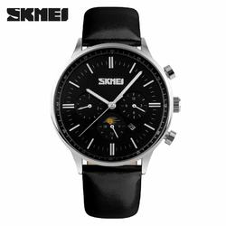 Zegarek męski SKMEI 9117 elegancki skóra black - blacksilver