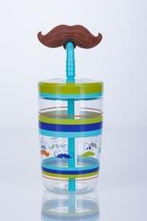 Kubek dla dzieci ze słomką contigo 470ml - wąsy - niebieski