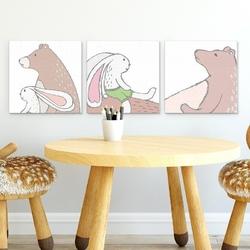 Zestaw obrazów dziecięcych - forest friends , wymiary - 60cm x 60cm 3 sztuki