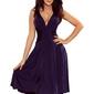 Granatowa elegancka rozkloszowana sukienka na szerokich ramiączkach