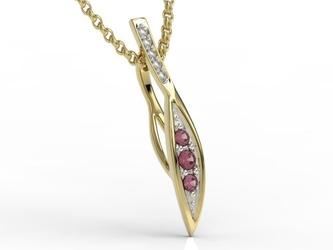 Wisiorek z żółtego złota z rubinami i diamentami apw-97z-r - żółte z rodowaniem  rubin