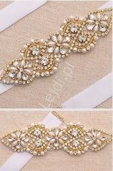 Biały ślubny pasek z kryształkami w oprawie w kolorze różowego złota 874