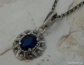 Joanet - srebrny wisiorek z szafirem