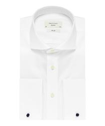 Elegancka biała koszula męska taliowana slim fit z włoskim kołnierzykiem i mankietami na spinki 39