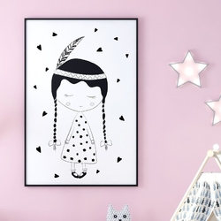 Lovely girl - plakat dla dzieci , wymiary - 20cm x 30cm, kolor ramki - biały
