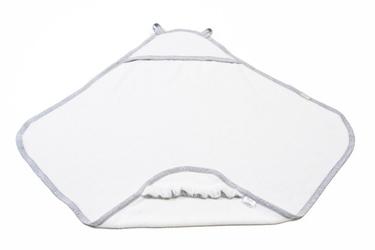 Bawełniany ręcznik z kapturkiem, szara lamówka poofi