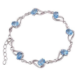 Aria; srebrna bransoletka z blue topazami 6,6 ct