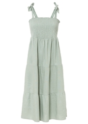 Sukienka midi lniana bonprix dymny zielony