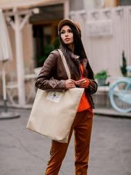 Tote bag z tkaniny płuciennej beżowa - street fashion - beż