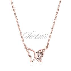Srebrny pozłacany naszyjnik pr.925 motylek z cyrkoniami - różowe złoto - różowe złoto
