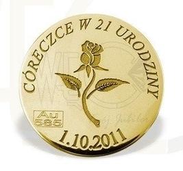 Grosz na szczęście ze złota d-6z doskonały prezent na każdą okazję