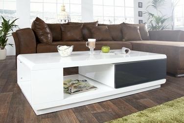 Stolik kawowy z obrotową szufladą malia biały