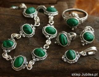 Larino - srebrny komplet z malachitem