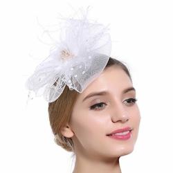 STROIK ślubny FASCYNATOR ozdoba do włosów BIAŁA - WHITE