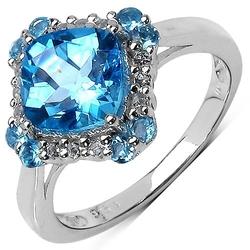 Nell blue srebrny pierścionek zaręczynowy niebieski topaz 3 ct