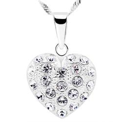 Duży wisiorek serce kryształy srebro 925 grawer