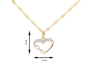 Złoty wisiorek serce z cyrkoniami i znakiem nieskończoności pr. 585 dedykacja