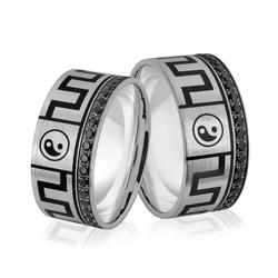 Obrączki srebrne z czarnymi cyrkoniami i znakami równowagi yin i yang - wzór ag-381