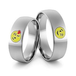 Obrączki ślubne z białego złota palladowego emotki emalia - au-986