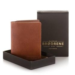 Cienki portfel ze skóry naturalnej smooth leather slim wallet brodrene sw08l jasny brąz